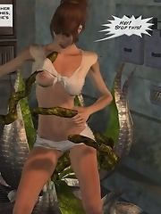 The lubricated tentacle began to twist and stretch within Valerie's pussy