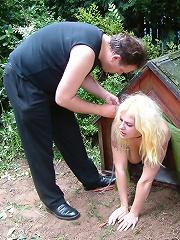 Blonde doggie slave