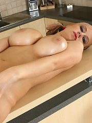 Babe with pigtails rubbing cooch