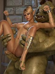 Kinky Anime Fantasy Heroine with jiggling boobies