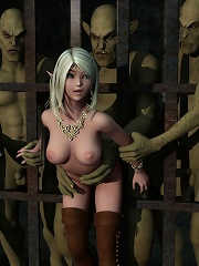 Brunette Bitch gets caught and gets assdrilled by 3D Goblin