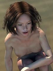 Redhead Girl strokes eager Goblin