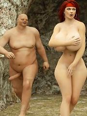 Hentai Slut with plump boobs rides Goblin