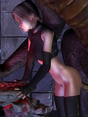 Perverted Elven Priestess is drilled by 3D Demons wang