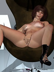 Lovely 3D Secretary roped up and pissing in a can