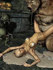 Girlfriend pleasures tied up 3D Orc
