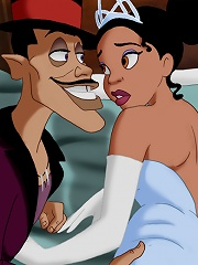 The beautiful princess Tiana and the naughty sorcerer Dr. Facilier are having some naughty fun in bed.