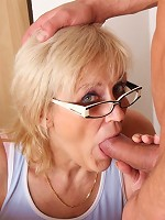 Cumshot all over the granny thighs