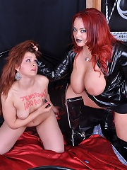 Mistress Jemstone whipping Candy and pounds her with a dildo