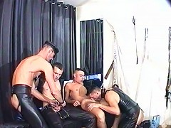 Guys are used and abused in gay group sex