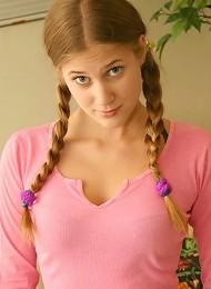 Allison looking cute in pigtails