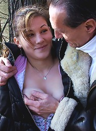 Horny couple shagging in a forest