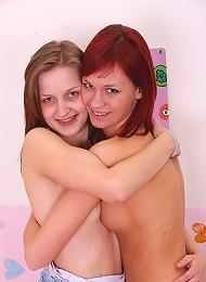 Two hot lesbian teenagers banging