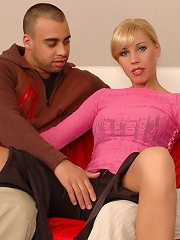 Cute blonde takes on 2 guys for a fuck fest