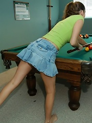 Lana gets out her big tits while playing pool