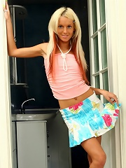 Petite slutty blonde strips exposing every part of her body