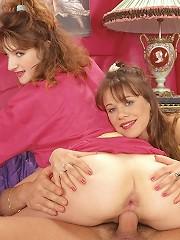 Two brunette teenies fucked anal