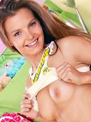 Sweet teenie girl stripping naked