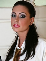 Hot tight brunette posing in a white shirt