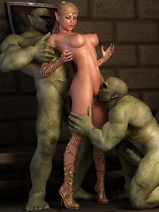 Cockhungry Elven Priestess shares Hentai Ghoul