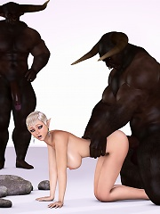 Hentai Babe was stuffed by angry Toon Orc