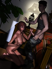 BOSS with plump boobs getting captured and coming