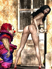Mistress grab poor 3D Man after bent over in hole