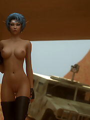 Skinny 3D Belle plays with...