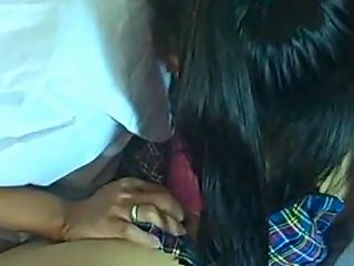 Asian Lesbians Are Sucking And Kissing On Eac