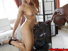 Busty black goddess riding BBC with her greed