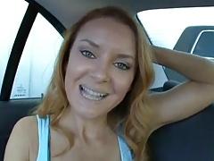 Amazing Redhead Milf Fucked on the Backseat