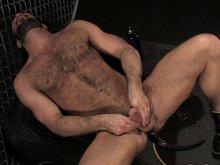 Hairy muscle stud masturbates his massive cock