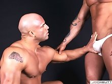 Two naked muscle bodybuilders