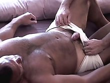 The big cock of a hairy bear gets hard once it's sucked by a hungry, horny stud