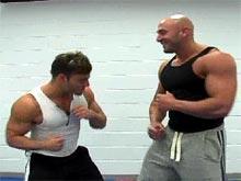 Horny naked gay muscle hunks wresle movie