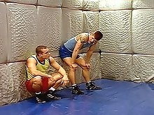 Wrestling jock play with eachothers cocks before fucking each others asses