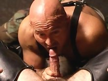 Favourite hairy hunk Butch Grand opens the show at the Hoist with a fellow thick dicked bear, Ray Stone.