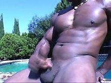 Naked black hunk masturbating hard