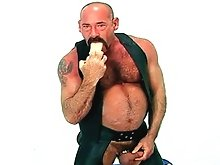 Hairy biker dude Peter Moore rides a big dildo all the way home