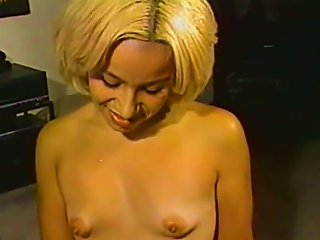 Blonde With Small Ugly Tits Gives A Handjob To Some Man