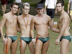 Amatuer beach boys get naughty and teases outdoors