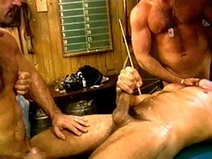 Three burly bears test the stability of a pool table as they fuck each other to orgasm
