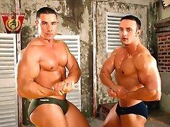 1 video 8 photos Bodybuilder-Wrestler contest Fernando Nielsen vs Csabee Newcomer muscleman Csabee and Mega-Titan Fernando Nielsen stand side by side