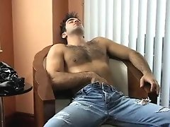 A sexy hairy gay man strokes his massive tool and dreams of hot ass