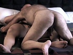 Two hairy gay men get their fill of cock and ass as they lick each other's furry bodies