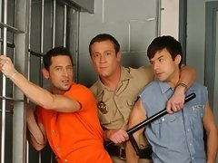 Three hot hunks please each other holes in 3some way fucking in a jail