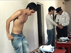 Old freak strips naked several hot prison newbies