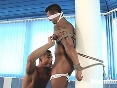 Masculine master uses a fucking machine on slave and then fucks him really hard