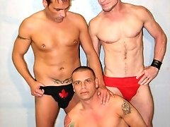 We gathered 3 hot nasty sex pigs for this hot 3 way. Eon Skot and Tyler Gordon team up to use Ray Boy as their nasty bottom to do as they please with.