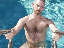 Hunk dude tear up his shirt showing off hairy chest